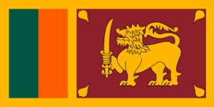 Name Lion Flag Use 	Civil and state flag and civil ensign Proportion 	1:2 Adopted 	22 May 1972 Design 	Dark red rectangular panel bordered yellow containing a yellow lion holding a sword upright in its right fore paw, and four bo leaves, one in each corner, and next to the hoist two vertical stripes, green and orange, also bordered yellow together.